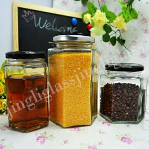 Hexagonal Glass Jar for Food Packaging pictures & photos