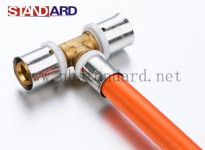 Brass Female Thread Tee with Plastic Ring/Pex-Al-Pex Pipe/Brass Fitting pictures & photos