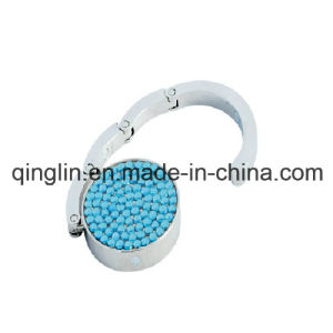 Custom Blue Crystal Stone Decoration Circle Shape Bag Hanger (G-058) pictures & photos