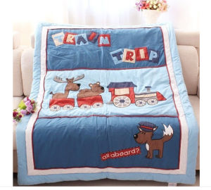 Baby Quilt Patterns Lovely Animals by Train in Blue pictures & photos