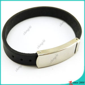 Simple Black Leather Bracelet for Man (LB16041947)