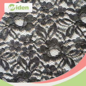 Net Lace Brown Color Flower Pattern Stretch Lace Fabric pictures & photos