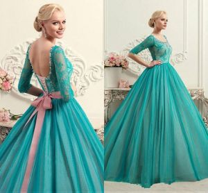 Mint Green Blue Party Cocktail Ball Gown Sheer Long Sleeves Evening Dresses E3026 (Z3026) pictures & photos