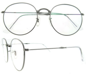 Unsex Fashion Brand Name Large Round Optical Glasses with Stainless Material pictures & photos