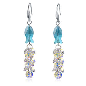 New Design Sapphire Clear Austrial Crystal Drop Earring Brazilian Gold Earrings pictures & photos
