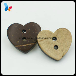 Two Holes Nature Heart Shape Coco Button for Clothes pictures & photos