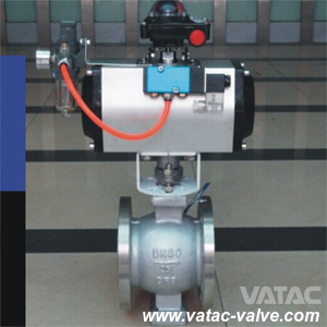 Cast Steel Body Pneumatic Operated V-Port Ball Valve pictures & photos