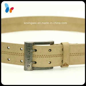 Full Grain Genuine Leather Strap Belt with Double Pin Alloy Buckle pictures & photos