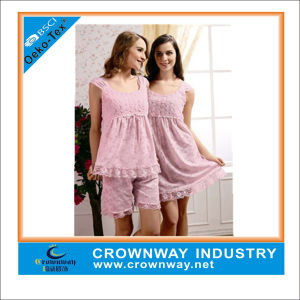 Wholesale Cute Lady′s Pink Chiffon Pajamas with Tops and Bottom pictures & photos