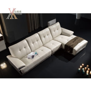 White Leather Sofa with Chaise (861) pictures & photos
