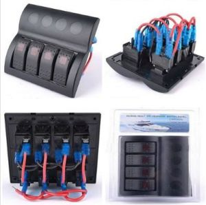 Waterproof Marine Boat Rocker Switch Panel 4 Gang LED Light pictures & photos