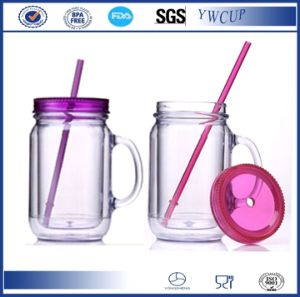Wholesale BPA Free 20oz Double Wall Insulated Plastic Mason Jar with Straw and Handle