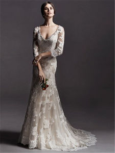 Sheer Long Sleeves Bridal Gowns Vestidos Mermaid Lace Wedding Dress, Customized pictures & photos