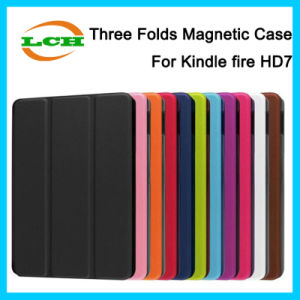 3 Folding Auto Wake/Sleep Leather Case for Kindle Fire Hdx pictures & photos