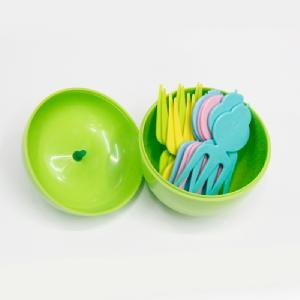 Fruit Fork Packed by Apple Shaped Box pictures & photos