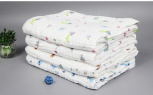 100% Cotton Muslin Gauze Cloth Printed Baby Towelblanket with 90X90cm pictures & photos