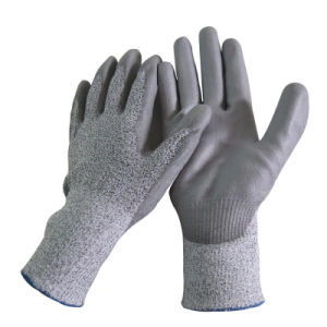 Oil Proof Super Fit Cut Resistant Gloves PU Safety Work Glove pictures & photos
