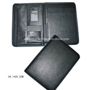 A4 Black Zip Leather Bound Padfolio with Calculator pictures & photos
