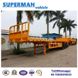 40f 3 Axle Flatbed Utility Truck Trailer with Crane for Heavy Duty pictures & photos