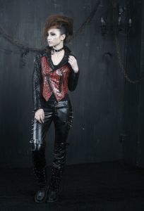 Gothic Punk Style Sexy Women Leather Rivet Long Pants (K-131) pictures & photos