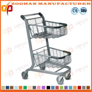 Stylish Compact Steel Supermarket Handling Shopping Basket Trolley Cart (Zht199) pictures & photos