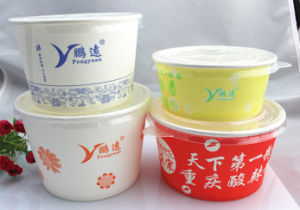 Disposable Paper Bowl with Plastic Cover pictures & photos