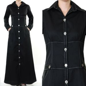 New Design Muslim Women Button Down Coat Style Maxi Abaya