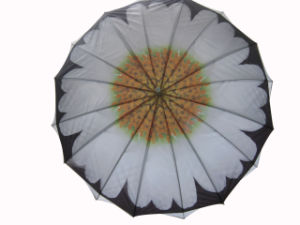 Sunflower Design Heat Transfer Printing Double Layers Straight Umbrella (SU025-3) pictures & photos