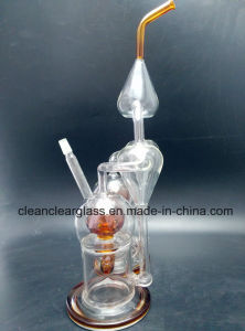 High Quality Glass Water Pipe Double Chambers Recycler with Ball Perc and Inliner Perc pictures & photos