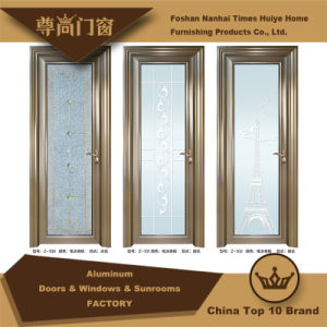 Houses Decoration Champagne Colour Aluminium Doors with Frosted Glass pictures & photos