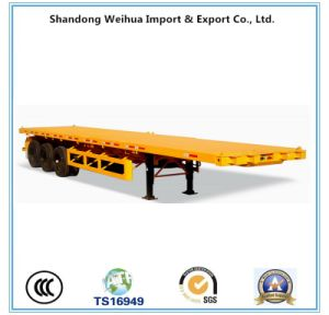 China 3 Axle 60t 40FT Flatbed Container Semi Trailer pictures & photos