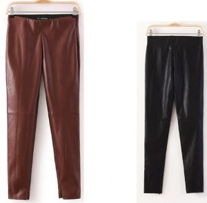 2015 Latest Fashion Autumn Skinny Women Leather Pants pictures & photos