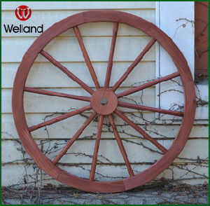 Decorative Wood Wagon Wheels Stain Red