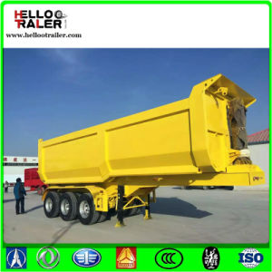 Tri Axles Dump Semi Trailer Hyva Cylinder U Shape 3 Axles Rear Tipping Truck Trailer pictures & photos