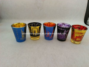Laser Engraved Metallic Shot Glass City Logo Shot Glass