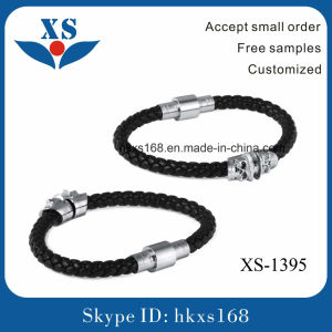 Black Leather Bracelet Wholesale Handmade Silver Jewellery