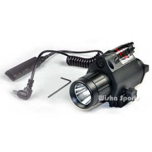 Tactical LED Flashlight with Red Laser Sight for Picatinny Rail