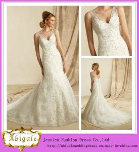 2014 New Designer High Quality Ivory A Line V Neck Sheer Straps V Back Special Lace Long Saudi Arabian Wedding Dress (MN1473)