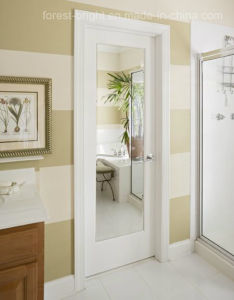 Bathroom White Shaker Wood Door with Clear Glass Mirror pictures & photos