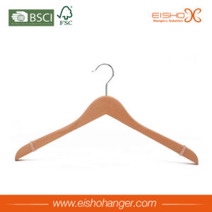Supermarket Beech Wood Hanger with Silicone Sleeve on Shoulder pictures & photos