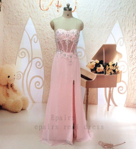 Real Pink Lace Beaded Top See Through Waist Side Slit Chiffon Long Sexy Formal Prom Party Dress