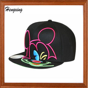 Black Embroidery Snapback Flat Peak Caps pictures & photos