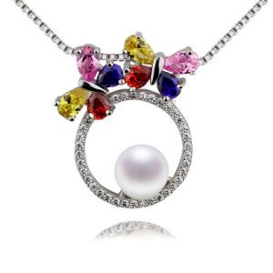 Colorful Zircon Fashionable Pure Natural Pearl Pendant