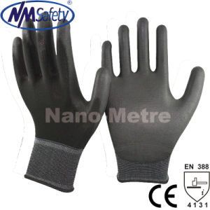 Nmsafety Black PU Palm Coated Top Fit Hand Working Glove pictures & photos