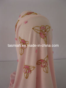 High Fashion Muslim Hijab Scarf Crafted with Pearl 45-1