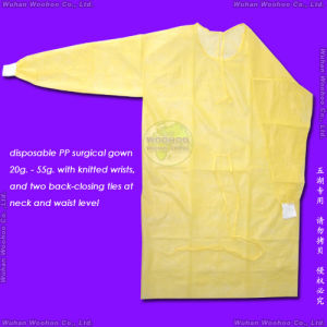 Disposable Surgical Gown with Back-Closing Ties & Knitted/Elastic Cuffs pictures & photos