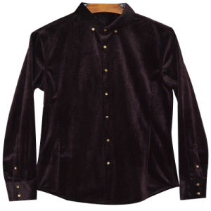 Men′s Corduroy Shirt with Printed Back Yokexdl15010