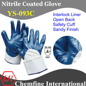 Interlock Glove with Blue Nitrile Sandy Coated Palm & Open Back & Safety Cuff/ En388: 4221 (YS-093C) pictures & photos
