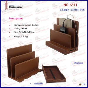 PU Leather Two Slots Charging Stand (6511) pictures & photos