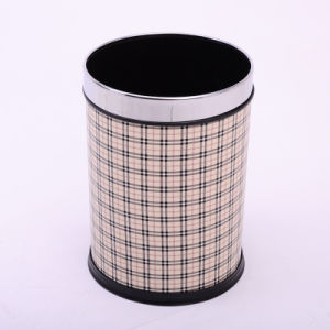 Creative Leather Covered Grid Open Top Garbage Bin (A12-1903I)